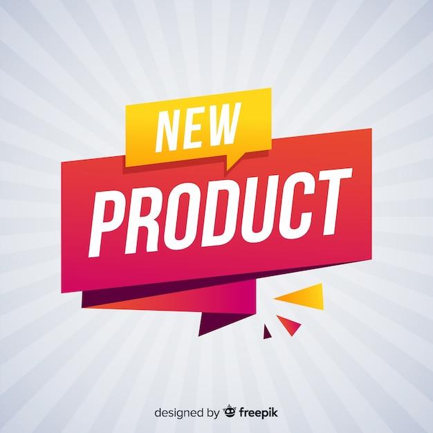 Bunte neue produktzusammensetzung mit flachem design Premium Vektoren