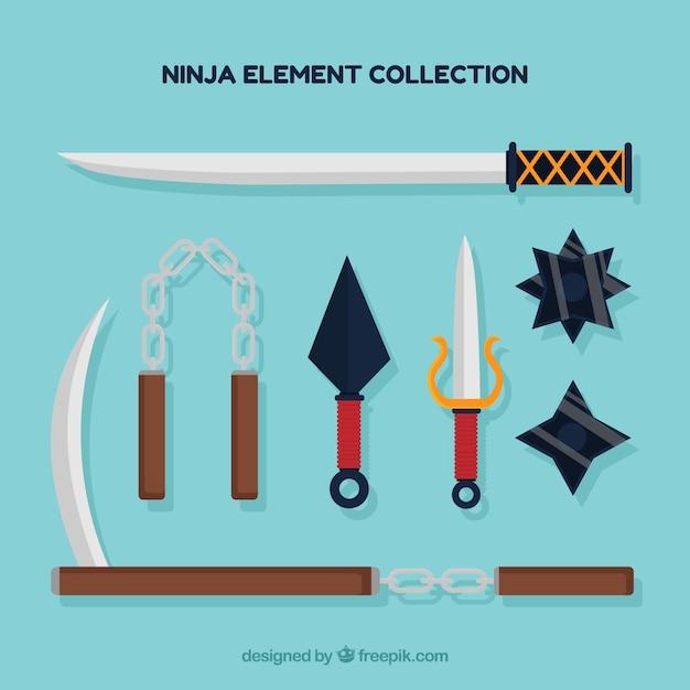 Bunte ninja elementsammlung mit flachem design Kostenlosen Vektoren