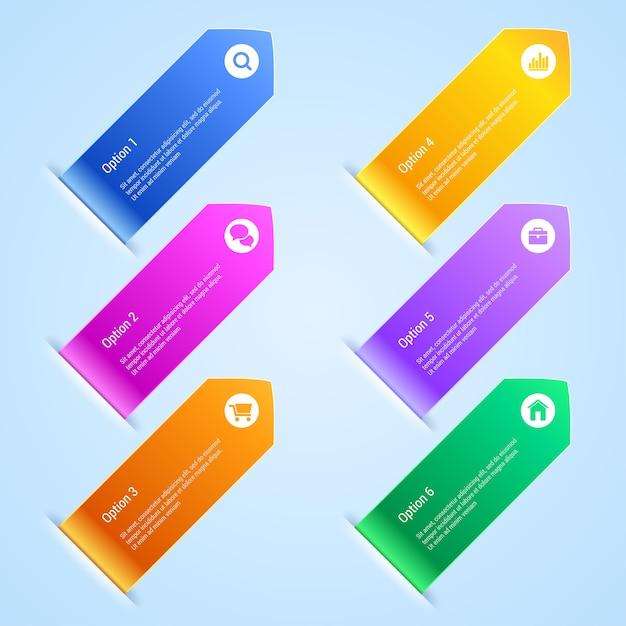 Bunte optionen banner infografiken. . Premium Vektoren