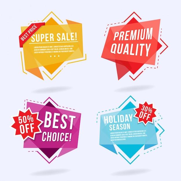 Bunte Origami Design Etiketten Kostenlose Vektoren