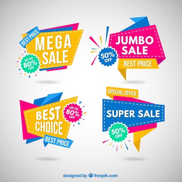 Bunte Origami Verkauf Banner Sammlung Kostenlose Vektoren