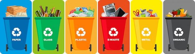 Bunte papierkörbe mit recycling-symbol auf farbigem hintergrund isoliert Kostenlosen Vektoren