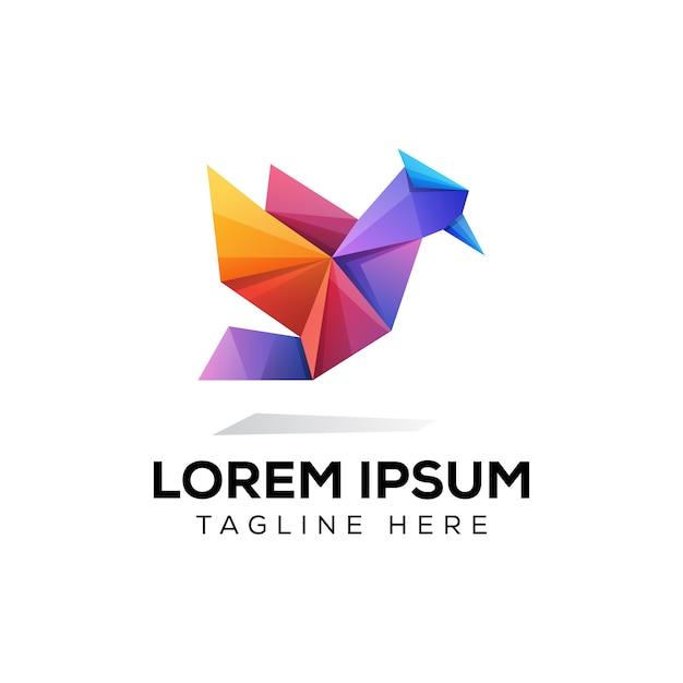 Bunte papiervogelorigami-vogellogoschablone Premium Vektoren