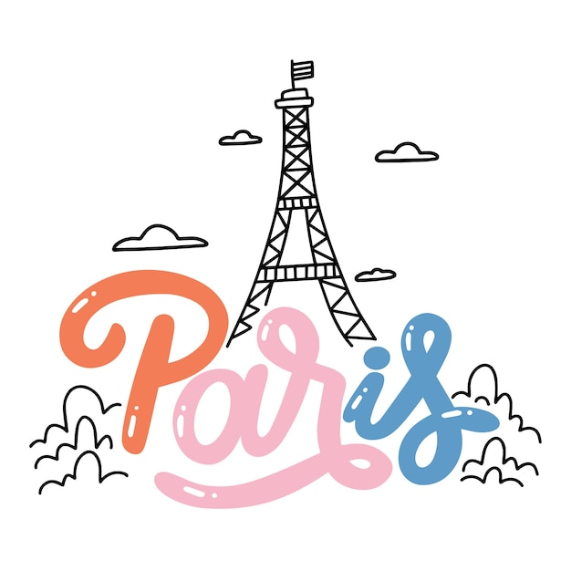 Bunte paris-stadtbeschriftung Kostenlosen Vektoren