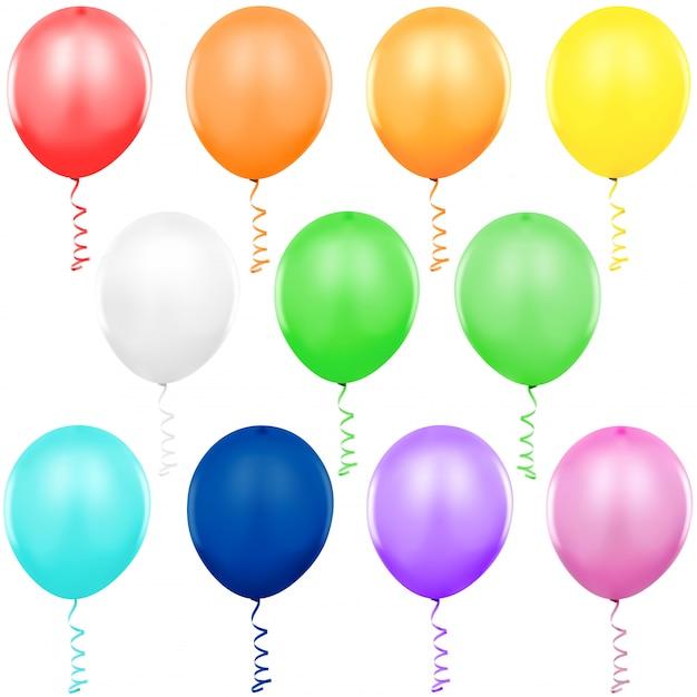 Bunte partyballons eingestellt Premium Vektoren
