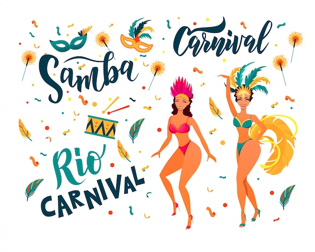 Bunte partyelemente des brasilianischen karnevals. samba, karnevalshandbeschriftungstext. rio de janeiro tänzer tragen ein festivalkostüm. Premium Vektoren