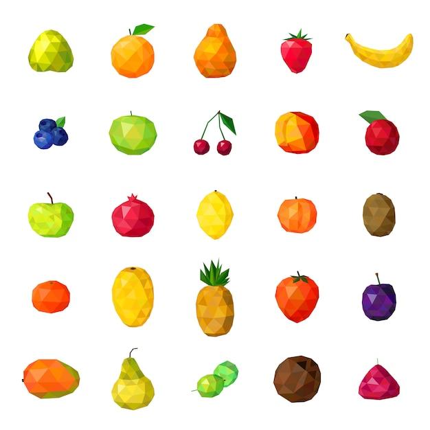 Bunte polygonale ikonen-sammlung der frischen früchte Premium Vektoren