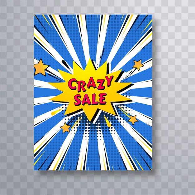 Bunte pop-art-broschürenschablone des verrückten verkaufscomic-buches Kostenlosen Vektoren