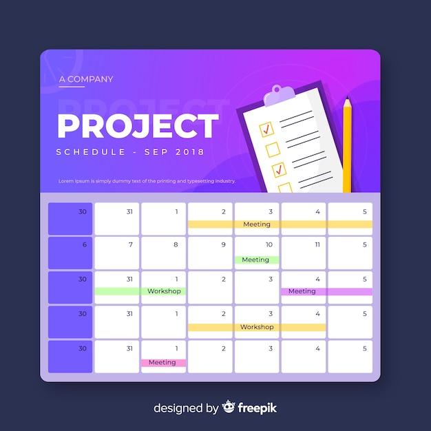 Bunte projektplanschablone mit steigungsart Kostenlosen Vektoren