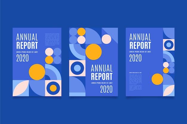 Bunte punkte und blaue jahresberichtschablone Kostenlosen Vektoren
