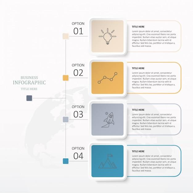 Bunte quadratische infografiken mit 4 schritten. Premium Vektoren