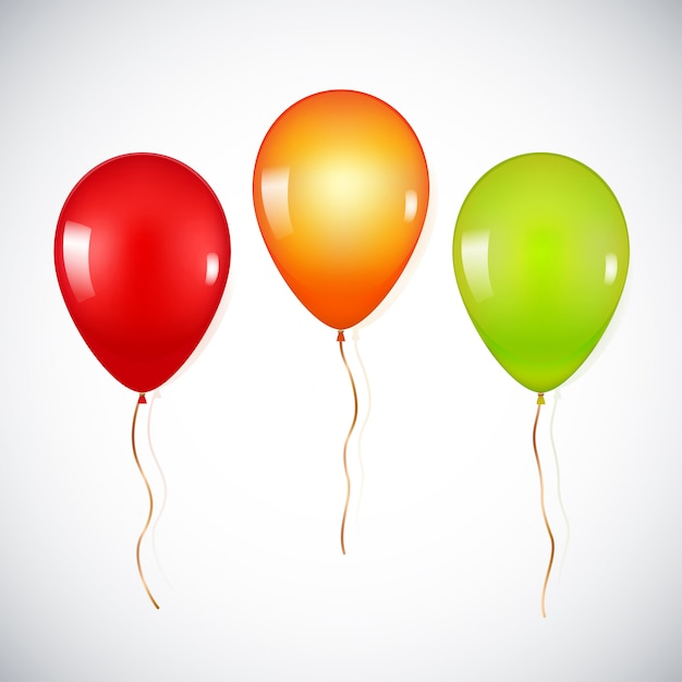 Bunte realistische heliumballone lokalisiert Premium Vektoren