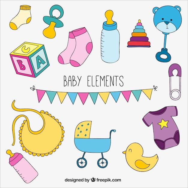 Bunte reihe von baby-elemente Kostenlosen Vektoren