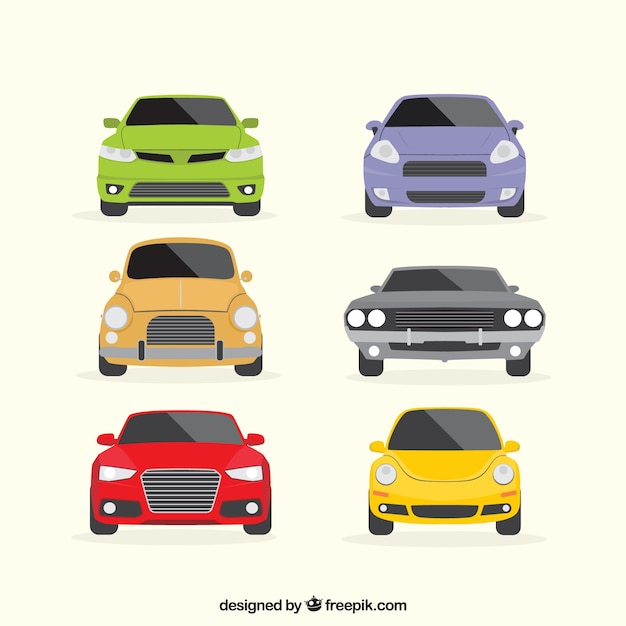 Bunte Reihe von flachen Fahrzeugen Kostenlose Vektoren