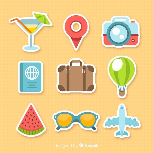 Bunte reiseelementsatz Kostenlosen Vektoren