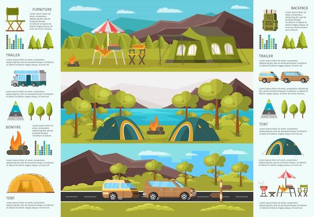 Bunte reisende camping infografik vorlage Kostenlosen Vektoren