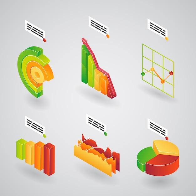 Bunte sammlung von 3d-analysediagrammen balkendiagramme und kreisdiagramme für infografiken, die an einer winkelvektorillustration ausgerichtet sind Kostenlosen Vektoren