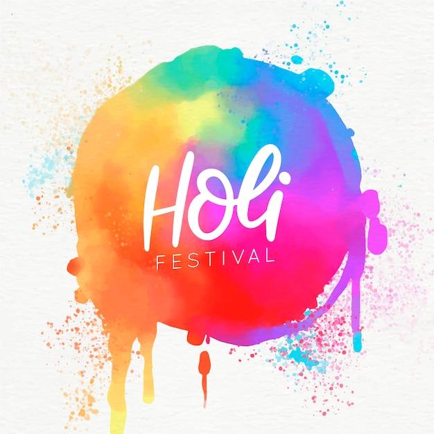 Bunte scheine der holi-festivalaquarell-farbe Kostenlosen Vektoren