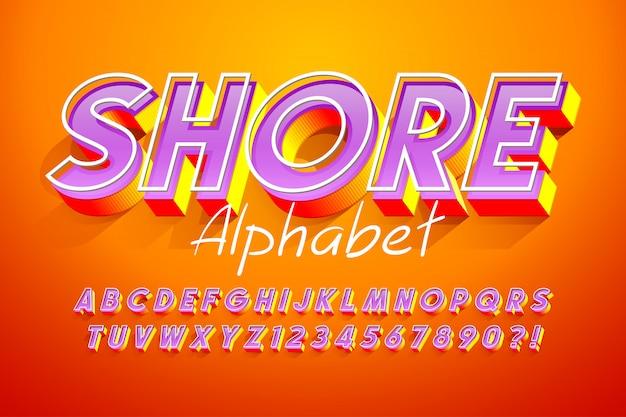Bunte schriftart der anzeige 3d, alphabet, buchstaben Premium Vektoren