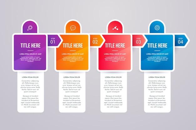 Bunte schritte infografik Kostenlosen Vektoren