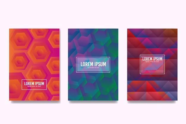 Bunte sechseckige und polygonale designs decken sammlung Kostenlosen Vektoren