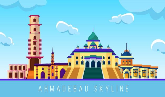 Bunte skyline von ahmedabad Kostenlosen Vektoren
