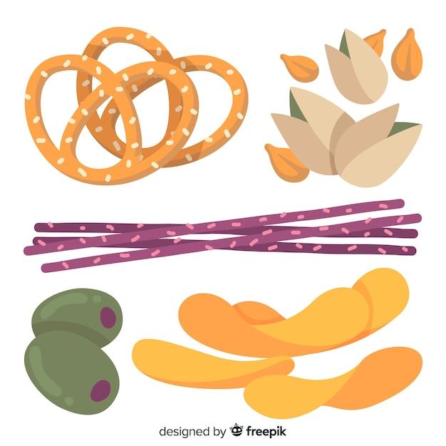 Bunte snack-sammlung mit flachem design Kostenlosen Vektoren
