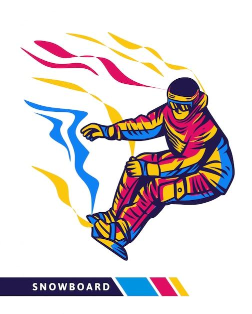Bunte snowboardillustration mit snowboarderbewegung Premium Vektoren
