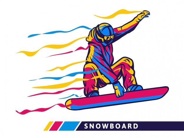 Bunte snowboardsportillustration mit snowboarderbewegung Premium Vektoren