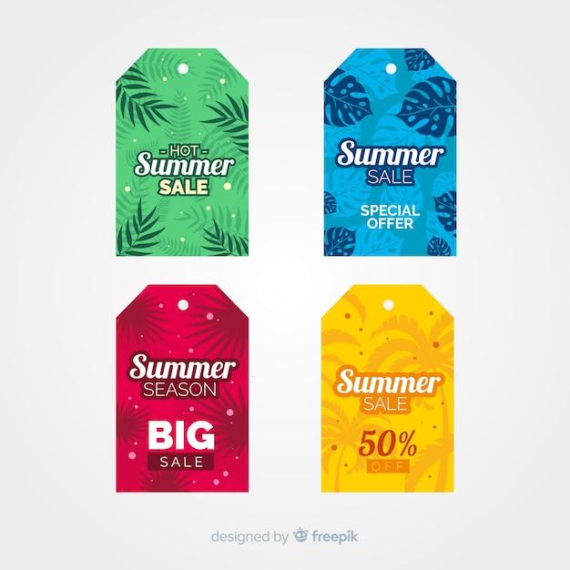 Bunte sommerschlussverkauf-aufklebersammlung Kostenlosen Vektoren