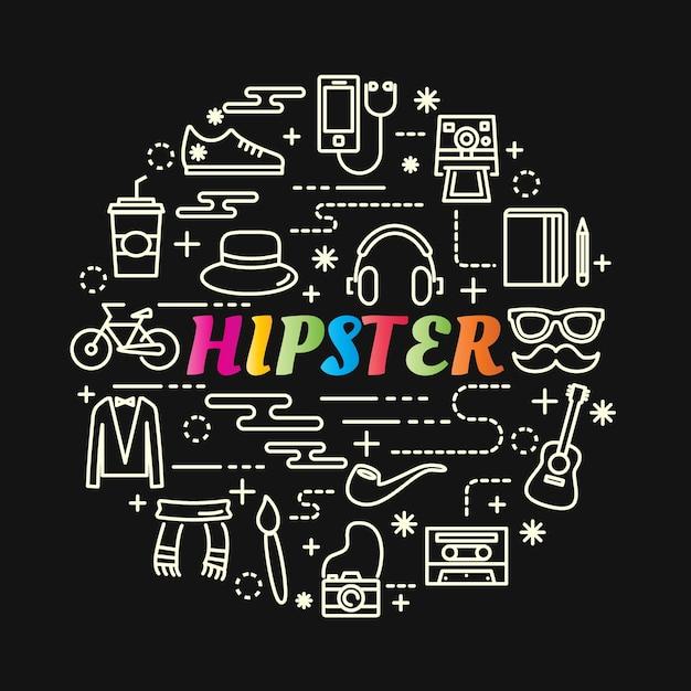 Bunte steigung des hippies mit der linie ikonen eingestellt Premium Vektoren