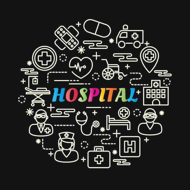 Bunte steigung des krankenhauses mit der linie ikonen eingestellt Premium Vektoren