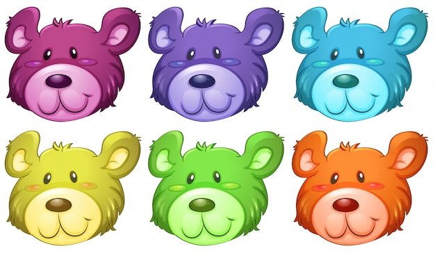Bunte süße bärenköpfe Kostenlosen Vektoren