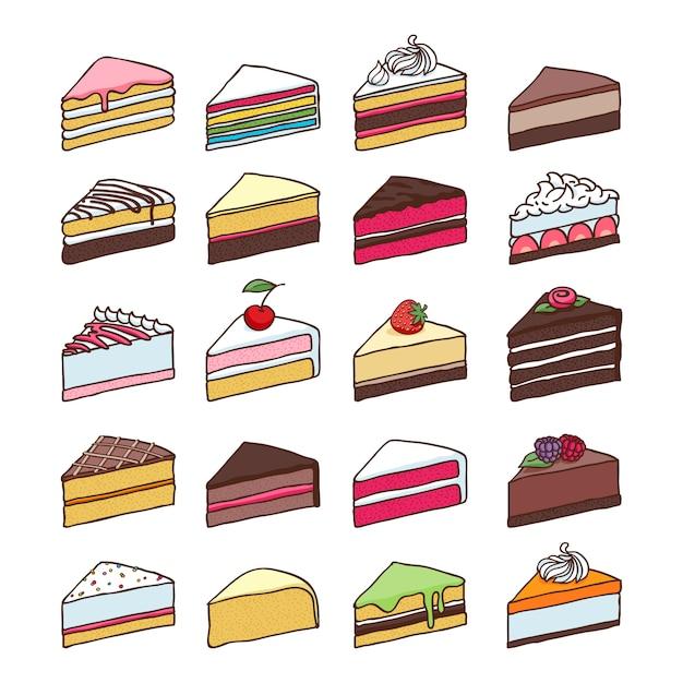 Bunte süße kuchenscheibenstücke stellten hand gezeichnete vektorillustration ein. Premium Vektoren