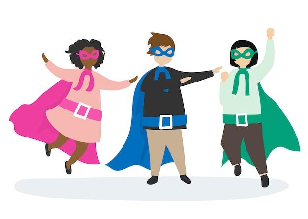 Bunte superhelden zur rettung Kostenlosen Vektoren