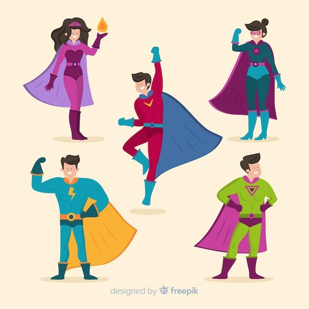 Bunte superheldillustrationen Kostenlosen Vektoren