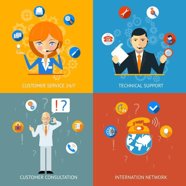 Bunte symbole für technischen support und kundendienst Kostenlosen Vektoren