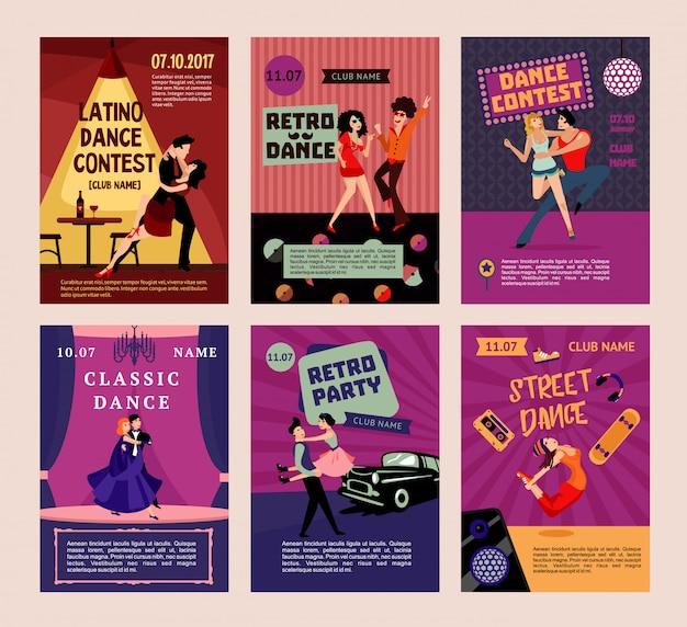 Bunte tanzende leute-plakate Kostenlosen Vektoren