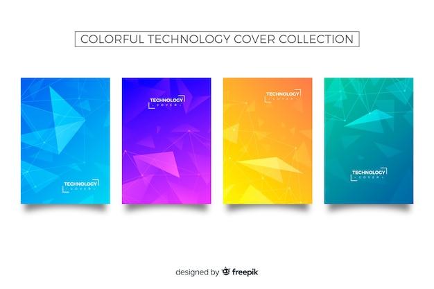 Bunte technologie-cover-kollektion Kostenlosen Vektoren