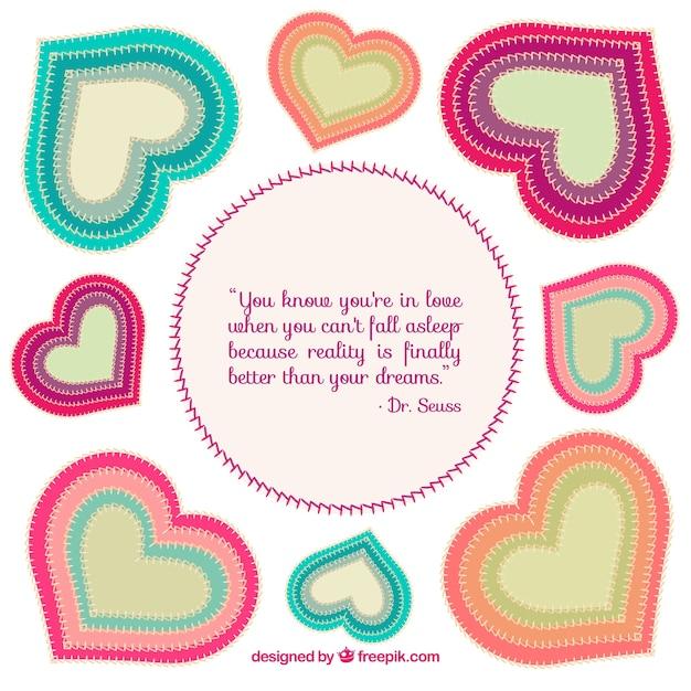 Bunte textil-herzen und liebe zitat Kostenlosen Vektoren
