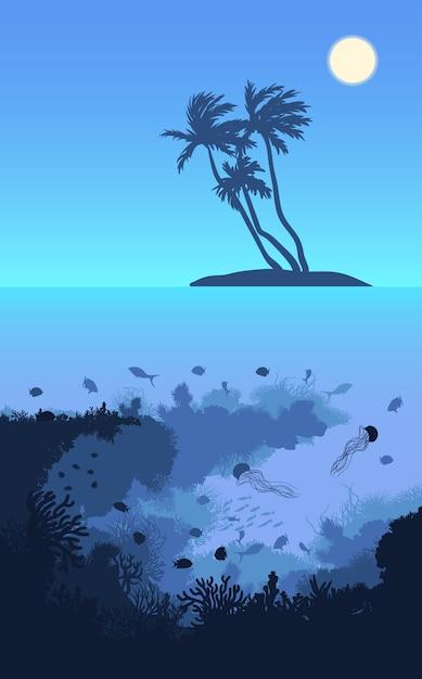 Bunte tropische insel-landschaftsschablone Kostenlosen Vektoren