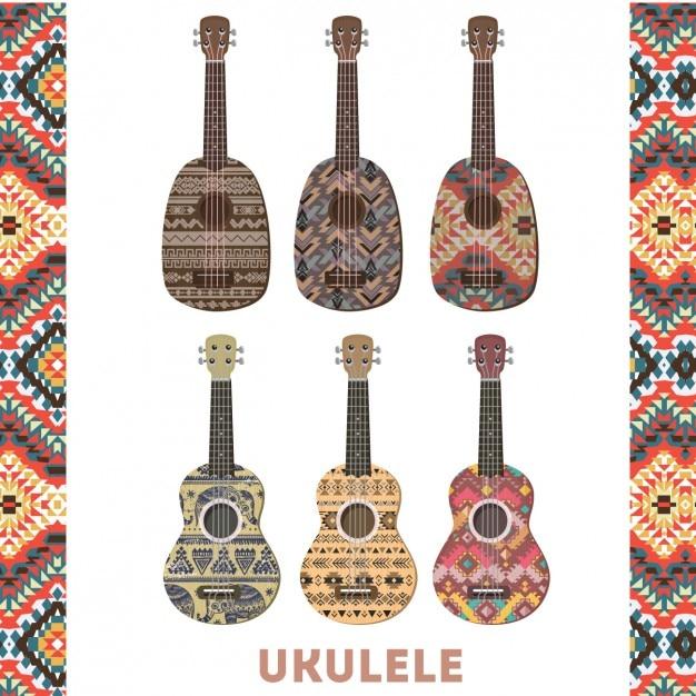 Bunte ukulele set Kostenlosen Vektoren