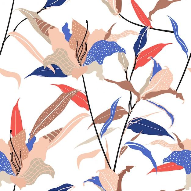 Bunte und trendige moderne hand gezeichnete lilie blume füllen mit linie und tupfen skizzieren nahtlose muster vektor, Premium Vektoren