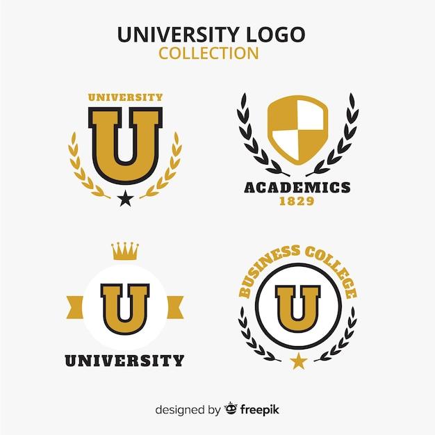 Bunte universitätslogosammlung mit flachem design Kostenlosen Vektoren