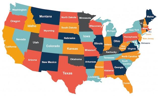 Bunte Usa Karte Mit Staaten Premium Vektor