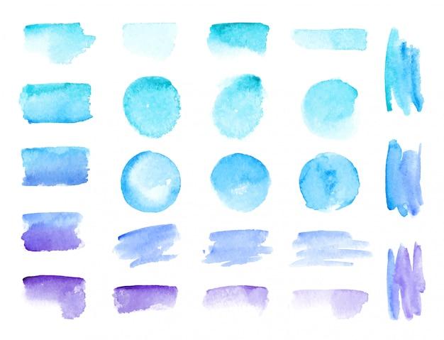 Bunte vektoraquarell-pinselstriche. regenbogen färbt aquarellfarbenflecke Premium Vektoren