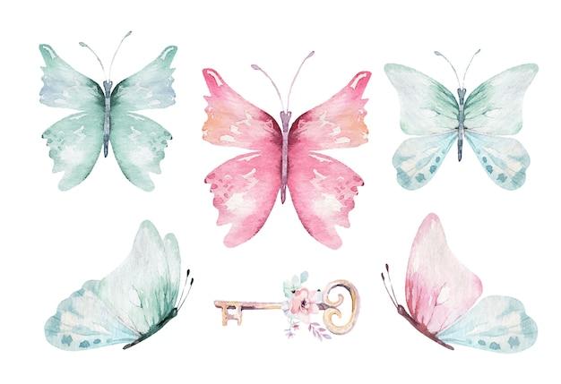Bunte vektorschmetterlinge des aquarells, rosa, blaue, gelbe, rosa und rote schmetterlingsfrühlingsillustration. magische frühlingskollektion Premium Vektoren