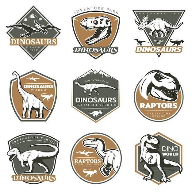 Bunte vintage dinosaurier-logos Kostenlosen Vektoren