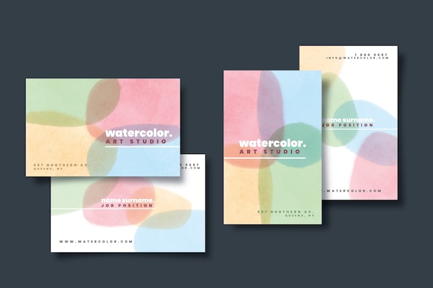Bunte visitenkartenvorlage mit pastellfarbenen flecken Kostenlosen Vektoren