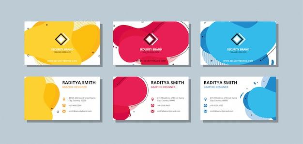 Bunte visitenkarteschablone mit flachen farb- und überlagerungswellen. Premium Vektoren